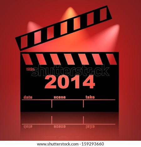2014 cinema clapperboard red lights background - stock photo