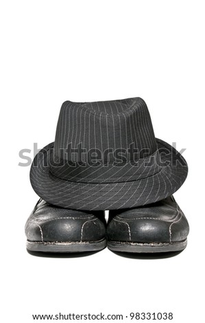 1950 circa fedora hat and a pair of dress shoes - stock photo
