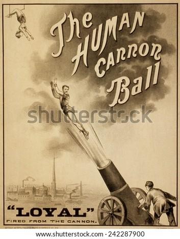 Vintage Circus Poster, Human Cannon Ball Poster | Zazzle.com |Human Cannonball Circus Poster