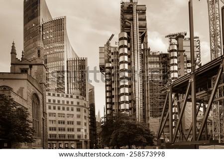 City of London. / sepia tone / - stock photo