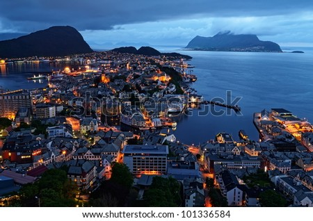 city of Norway by night