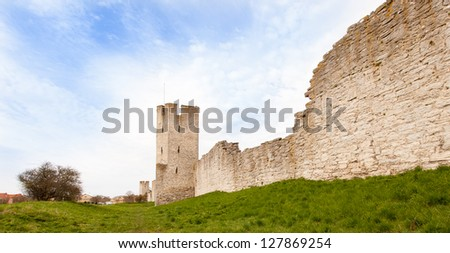 """City wall"" of Visby - stock photo"