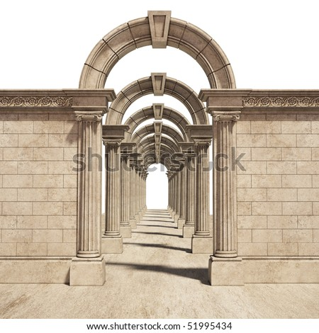 classic arch isolated on black background - stock photo