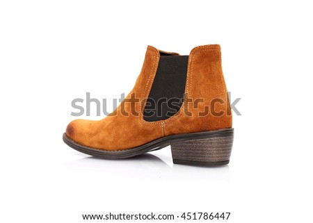 Classic brown Leather boots Isolated on White Background