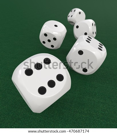5 classic white Dices. 3D Render of 5 classic White dices rolling forward on Green Casino Felt. Medium DOF.