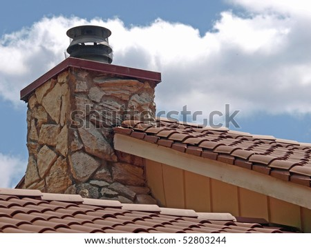 clay roof top - stock photo