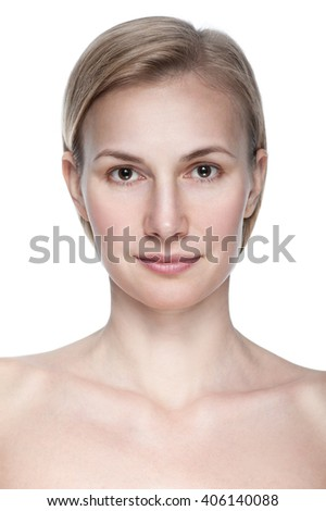 clean beauty portrait of  blond young woman isolated on white background - stock photo