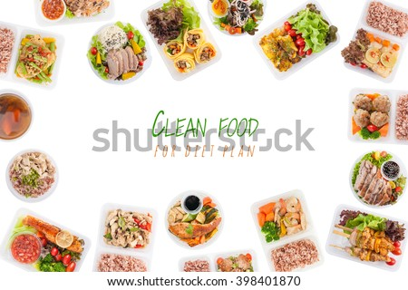 """""""Clean food for diet plan"""" is written on white background with modern style cuisine cooked by clean food concept including European, Japanese, Thai, and Chinese food style in lunch box - stock photo"""
