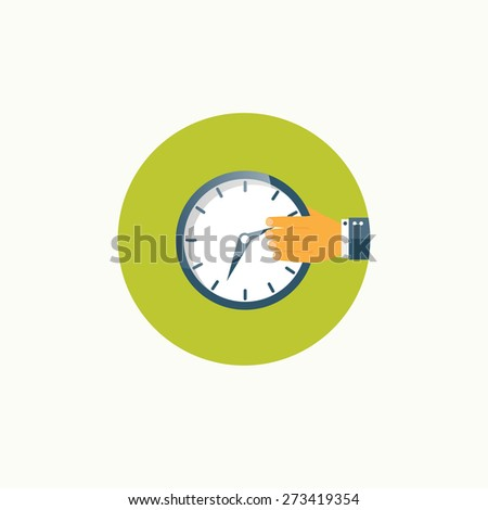 Clock flat icon. World time concept. Business background. Internet marketing. Daily infographic. - stock photo