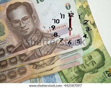 12:00 clock on Background banknotes of Thailand (Thai Baht, THB)