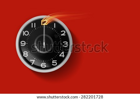 12:00 clock showing red background. - stock photo