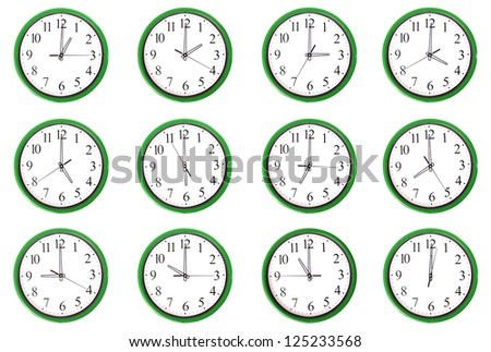 12 clocks. Each one showing one hour of the day. Isolated on a white background. - stock photo