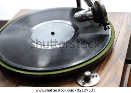 Close up at vintage gramophone. playing old song - stock photo