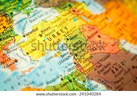 close-up macro photograph of map Syria Jordan and Turkey .Selective focus on Syria - stock photo