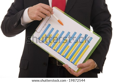 Close-up of a businessman showing a financial report - stock photo