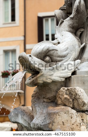 Close up of  Fountain of the Pantheon (Fontana del Pantheon)  at Piazza della Rotonda .. Rome,  Italy