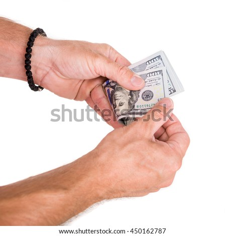 Close up of man counting money on a white background