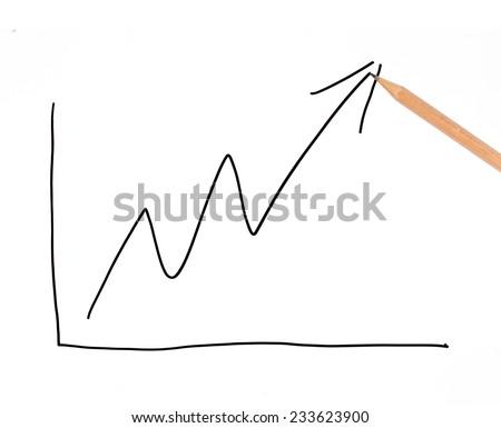 close up of pencil with finance business graph - stock photo