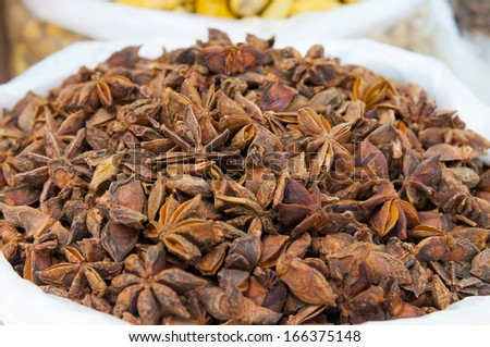 Close-up of stars anise on the market