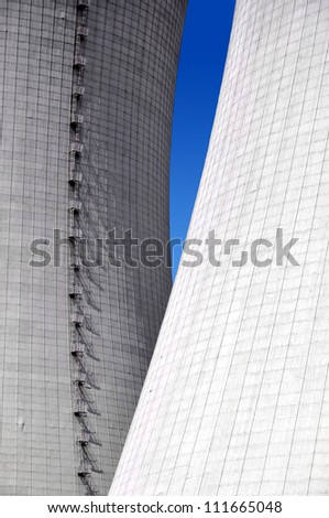 close-up of the cooling towers  of the nuclear power plant Temelin - Czech Republic - stock photo