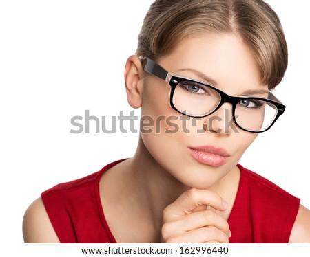 Close-up portrait of beautiful stylish woman in eyeglasses - stock photo