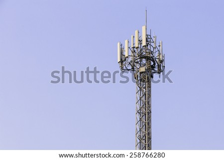 Close up white color antenna repeater 3G tower on sky - stock photo