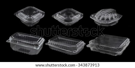 Closed Empty Plastic Containers  Isolated on Black Background