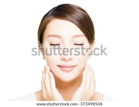 closeup beautiful young asian  woman  face - stock photo