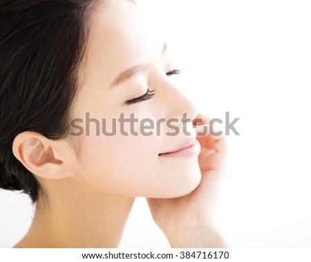 closeup beautiful young   woman  face - stock photo