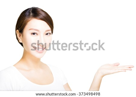 closeup beautiful young   woman  with showing gesture - stock photo