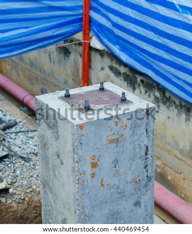 Closeup Concrete poles cement with for construction