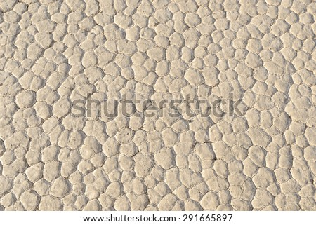 Closeup of dry and cracked mud soil, Racetrack Playa, Death, Valley