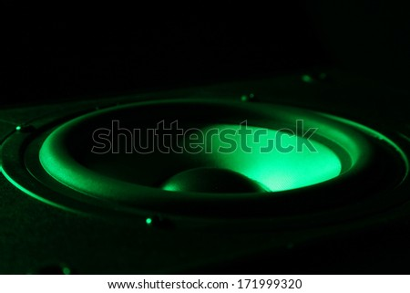 Closeup view of black loud speakers - stock photo