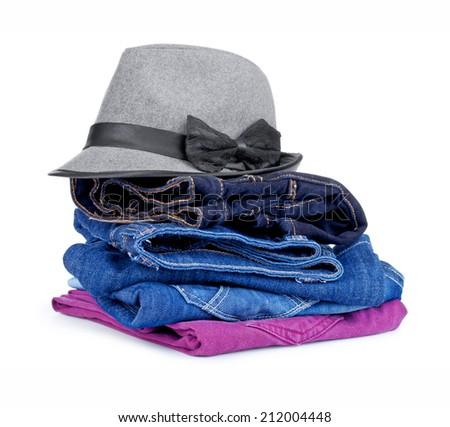 clothing isolated on white - stock photo
