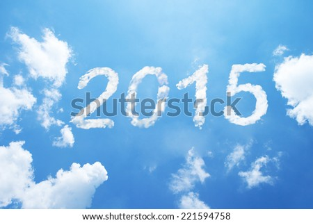 2015 clouds on sky. - stock photo