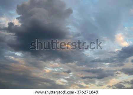 Cloudy sky background before strom - stock photo