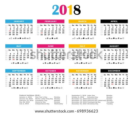 2018 Cmyk Calendar Weeks Numbered Moon Stock Illustration ...