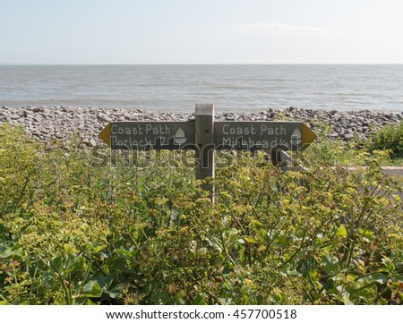 """Coast Path"" Sign Post on the South West Coastal Path between Minehead and Porlock Weir in Somerset, England, UK."