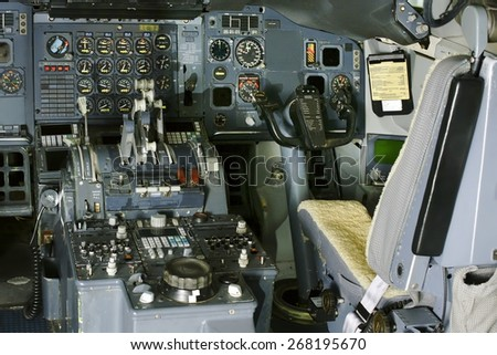 cockpit  dashboard in plane of  airline