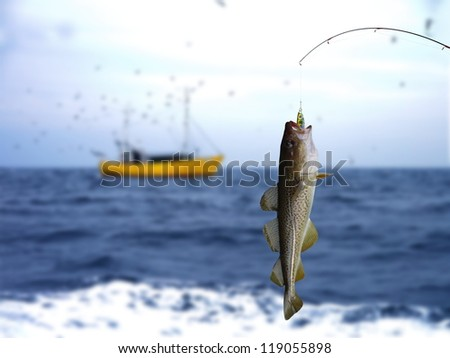 cod on fishing-rod on background of sea - stock photo