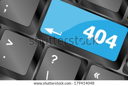 404 code button on keyboard keys - stock photo