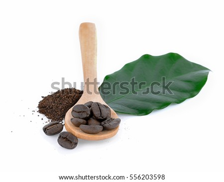 coffee beans and leave isolate on white background