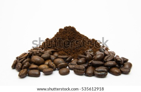 Coffee beans roasted and blended