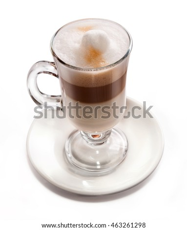 Coffee in glass.Dessert.The image on a white background.