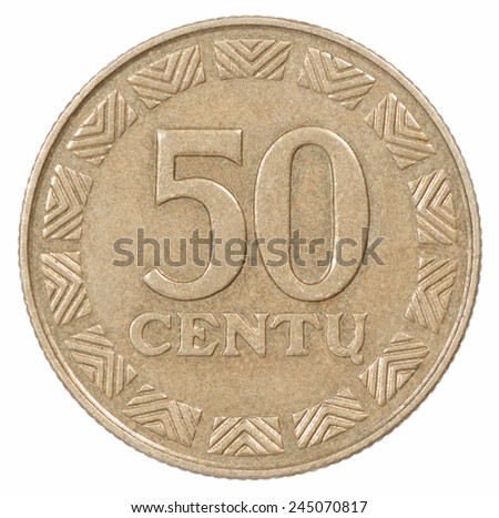 50 Coin Lithuania lit on the white background