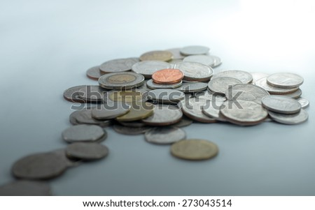 Coin thai bath on white and cyans background - stock photo