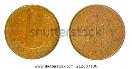 coins Barbados 5 cents - stock photo