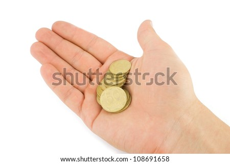 coins in hands isolated on white background - stock photo