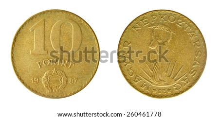 Coins of the Socialist Republic Hungary, 10 forints 1987 - stock photo
