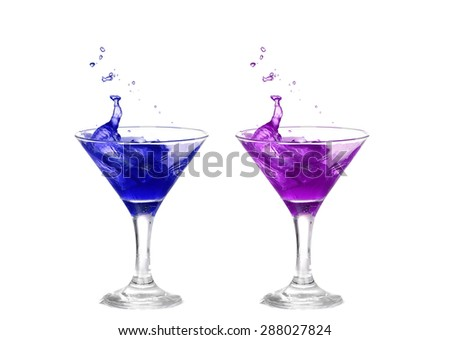 collage  blue and purple cocktail with splashes isolated on white background